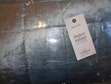 West Elm Washed Luster Velvet  Quilt  twin dusty blue New wo tag
