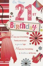 21st Birthday Card - Female Age 21 Dress Shoes