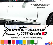 2X SPORTS MIND POWERED BY AUDI DECAL,RACING CAR  VINYL STICKER