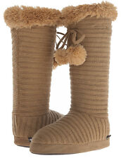 E9 - Muk Luks Slippers / Boots w/Poms * New Womens Large 8-9 Camel - #25205