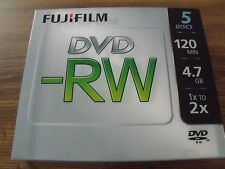 FujiFilm DVD-RW with Slim Case 5-Pack (120 min, 4.7GB, 1x to 2x Speed)