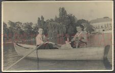 Vintage Photo Man & Pretty Girl w/ Pet Border Collie Dog in Row Boat 662295