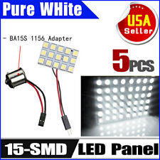 5X Car RV White 1156 BA15S Adapter+ 5050 15SMD Panel Interior Dome Map LED Light