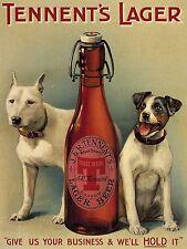 Tennent's Lager Beer, Dogs, Vintage Pub, Bar, Hotel, Beer, Novelty Fridge Magnet