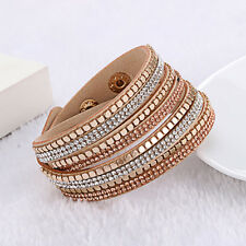 Gemma Beige Multilayer Rhinestone Slake Leather Bracelet Crystal Bracelets