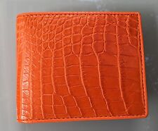 100% Genuine crocodile skin leather bifold men orange wallet