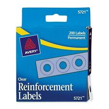 Avery Reinforcement Labels Round Clear Self Adhesive 200 Pack 1/4 Inch Diameter