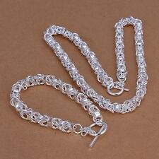 wholesale Fashion 925 sterling Silver filled bracelet necklace set Jewelry S049