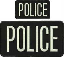 police embroidery patch 6x11 & 3x6  hook on back black &silver letters