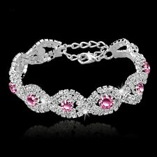 Pink Crystal Bracelet Women Girl Wedding Bangle Jewelry Charm Rhinestone