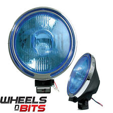 NUOVO 24V 9 pollici Lampada Spot & Chrome RING BLUE LENS & LED Anello SCANIA VOLVO RENAULT