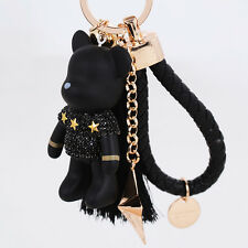 Leather ring tassel fringe bear star keychain crystal fashion charm ring handbag