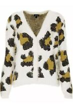 Topshop Fluffy Leopard Print Cream Black Green Khaki Cardigan