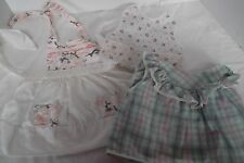 lot of 5 vintage baby doll girl bib dress booties pinafore plastic pant 6-12 mos