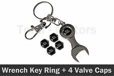 Subaru Spanner Wrench Key Ring Chain Keyring + 4 Tyre Tire Valve Caps /1109