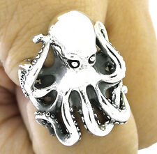 GIANT OCTOPUS KRAKEN COLOSSAL SQUID STERLING 925 SILVER BIG RING Sz 11