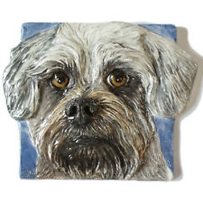 Glen of Imaal Terrier Ceramic dog tile bas-relief handmade Sondra Alexander Art