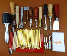 40PC LEATHER CRAFT STAMPING PUNCH TOOL SET KIT Hammer Swivel Cutter Sponge Plate