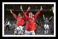 OLE GUNNAR SOLSKJÆR & TEDDY SHERINGHAM - MANCHESTER UNITED SIGNED FRAMED  PHOTO