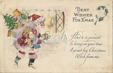 Org Vintage PC- Santa Claus- Sack of Toys- Best Wishes For Christmas- PM 1926