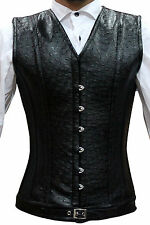 New Stylish Black Ostrich PVC Men Corset