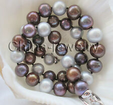 "P6605-AAA 18"" 10-11mm natural multicolor round freshwater pearl necklace - GP"