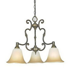 Verona Finish With Amber Alabaster Glass 3 Light Chandelier