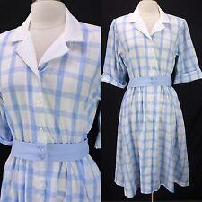 Vintage 80s Does 50s Blue/White Checker Plaid Belted Full Skirt Shirt Dress L