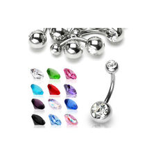 12er SET  Bauchnabelpiercing 2-STEINE Piercing SUPERHOT
