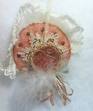 Victorian Hat with Feather Christmas Tree Ornament  Lace, Ribbon