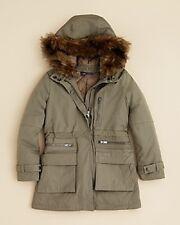 Vince Girls' Faux Fur Trimmed Parka Hooded Size Medium MSRP $250 Olive Green