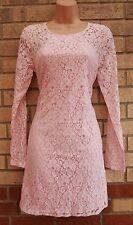 ALICE & YOU PINK FLORAL LACE LONG SLEEVE SMOCK BAGGY OVERSIZE TUNIC DRESS M L