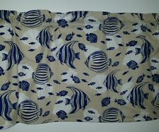 LINED VALANCE 42X15 TROPICAL NAVY ANGEL FISH CORAL REEF OCEAN SEA SHELL NAUTICAL