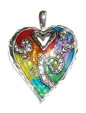 PENDANT/NECKLACE ST Rainbow Enamel & Rhinestones COLORFUL MOD HEART