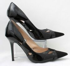 Guess Womens Sz 9 M Black Patent Leather Fabric Pointy Toe Stiletto Pumps Heels