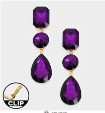 "3"" Purple Gold Long Rhinestone Crystal Pageant Swarovski Dangle Earrings Clip On"