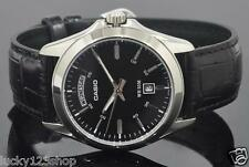 MTP-1370L-1A Black Casio Men's Watches Date Display 50m Leather Band Brand-New