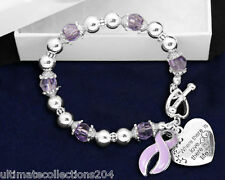 Where There Love Lavender Ribbon Bracelet Epilepsy Hodgkins Lymphoma Awareness