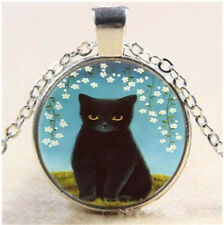 New black cat Cabochon Tibetan silver Glass Chain Pendant Necklace YL#60