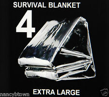 4 XL Winter Emergency BLANKETS Survival Tent Camping Camping BOB Reflecting Lot