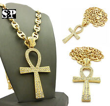 """ICED OUT GOLD JUMBO ANKH CROSS PENDANT & 12mm 30"""" LINK CHAIN HIP HOP NECKLACE"""