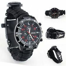 Survival Paracord Bracelet Compass Fire Starter Prepper Camping Watch Kits New