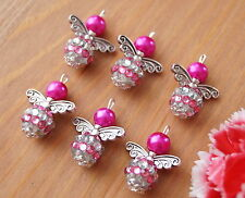 9x Shambala Style 2 Tones Pink Silver Angel Charm Pendant Beads Silver Wing