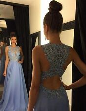 Long 2016 Prom Dresses Lace Chiffon Beading  Custom A Line Evening Party Gowns