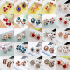 Elegant Fashion Women Gold Silver Crystal Rhinestone Flower Ear Stud Earrings