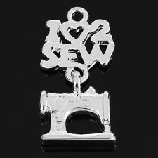 "4 pc Charm Pendant Sewing Machine Silver Plated ""I Love Sew"" 24x12mm LC3727"