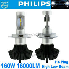 Pair 16000LM 160W LED Headlight Bulbs Philips Hi/L H4 9003 Plug Bulb White 6000K