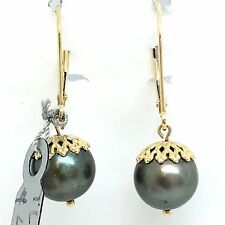 14K Yellow Gold Black South Sea Pearl Hoop Dangling Earring June Birthstone