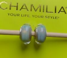 Set of Genuine Chamilia silver 925 milky blue glass Murano bracelet charms