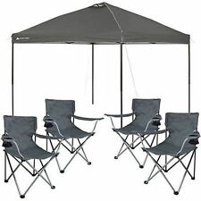 10x10 PopUp Tent Outdoor Portable Shade Canopy Tailgate Shelter 4 Camping Chairs